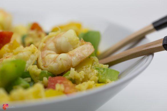 One Pot Garnelen Reis Pfanne