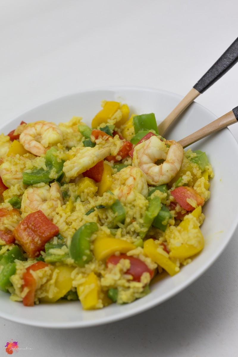 One Pot Rezept Garnelen Reis Pfanne einfach schnell